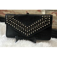 Hold Me Studded Clutch: Black