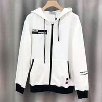 Moncler New fashion embroidery letter couple leisure high quality long sleeve coat  White