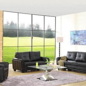 Home Elegance 9701BLK-SL 2 pc dwyer black leather like vinyl sofa and love seat with accented stitching
