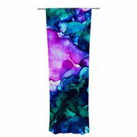 """Claire Day """"Nebula"""" Teal Multicolor Abstract Painting Decorative Sheer Curtain"""