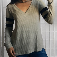 Tatum Double Stripe V Neck Top (Olive)