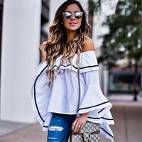 Long Sleeve Leaf White T-shirts Tops [9643030351]