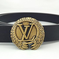 LV new retro wild men's and women's smooth buckle belt