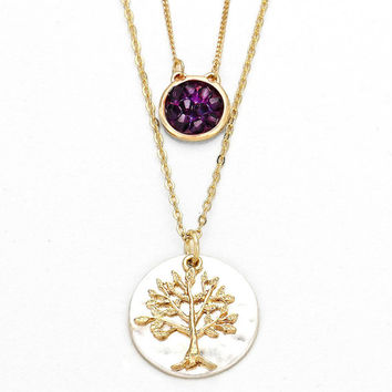 Silver, Gold & Purple Tree of Life Pendant Double Layered Necklace Set - Gold / Purple Bead Round Charm