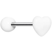 14 Gauge White Beating Heart Straight Barbell Tongue Ring 5/8"
