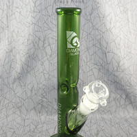 Green Straight Shooter Water Pipe by Diamond Glassworks