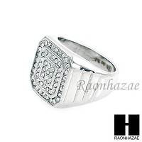 MEN RING 316L STAINLESS STEEL WHITE GOLD CZ BLING RING SIZE 8-12 SR012S