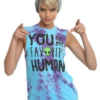 You Are My Favorite Human Blue Tie Dye Girls Muscle Top