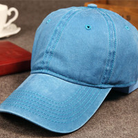 Blue Retro Washed Cotton Baseball Cap