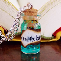 Wolfsbane Potion Necklace. Ingredient Card Included. 18 inch Silver Tone Chain.