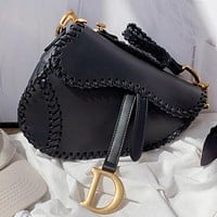 Dior Fashion New Solid Color Leather Shoulder Bag Cossbody Bag Handbag Saddle Bag Black