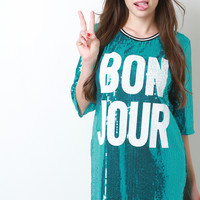 Bon Jour Sequin Boxy Shift Dress