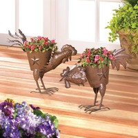 Flower Planters-Rustic Iron Roosters 2 Designs