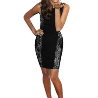Black Sleeveless V-Cut Back Floral Eyelash Lace Bodycon Dress