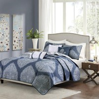 Mirella Navy Boho Medallion 6PC Coverlet Bed Set