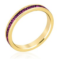 Gail Amethyst Purple Eternity Stackable Ring   1ct   18k Gold