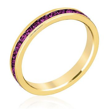 Gail Amethyst Purple Eternity Stackable Ring | 1ct | 18k Gold