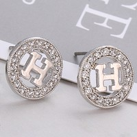 Hermes Fashion new personality round letter diamond earrings women