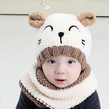 A Hat for A Boy Winter Children's Hats For Kids Boys Girls Hat Scarf Set Cute Knitted Hats Cartoon Baby Cat Hat Warm