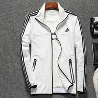 ADIDAS 2018 new men's breathable stand collar sports jacket White