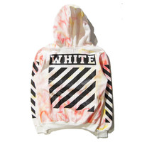 """Off-white""Dye Colorful Sweater Leisure Hooded Pullover Coat"