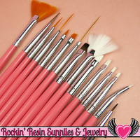 15 pcs NAIL ArT BRUSHES / Nail Polish Manicure Tools / Dotting Painting Liners Drawing and Fan Brushes