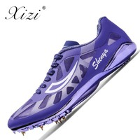 2018 Track Spikes Shoes for Men and Women Green Blue Athletics Spike Shoes for Running Sneakers Lightweight Unisex Field Shoes