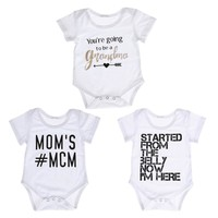 Summer Newborn Baby Boy Girl Casual Romper White Letter Print Jumpsuit Outfits Baby Clothes