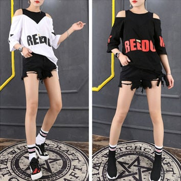 Fashion Casual Letter Print Multicolor Hollow Round Neck Short Sleeve T-shirt Shirt Top Tee