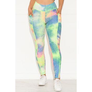 Stronger Than Ever Leggings Tie Dye Pink/Neon Green
