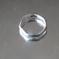 7 Sided Small Silver Ring, Size 5, Silver 925,