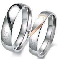 """""""Real Love"""" Heart Stainless Steel Band Ring Promise Ring Valentine Love Couples Wedding Engagement 284 M13"""