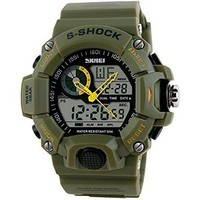 Fanmis® Multifunction Waterproof Digital LCD Alarm Date Mens Military S-Shock Sports LED Wrist Watches - Green