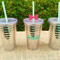 16 0z gold striped tumbler with free personalization