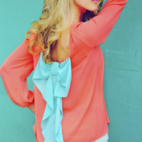 I Love You So Blouse: Neon Coral/Aqua | Hope's