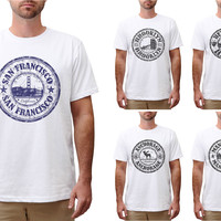 Stamps of famous Cities Printed Cotton Round Neck Men T-shirt MTS_00