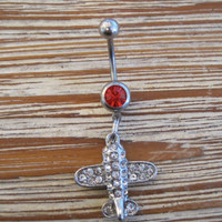 Belly Button Ring - Body Jewelry - Rhinestone Airplane with Red Gem Stone Belly Button Ring