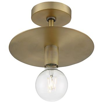 "10""W Bizet 1-Light Close-to-Ceiling Vintage Brass"