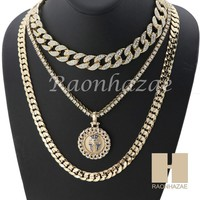 "14K GOLD PT KING TUT ROUND MIAMI CUBAN 16""~30"" CHOKER TENNIS CHAIN S35"