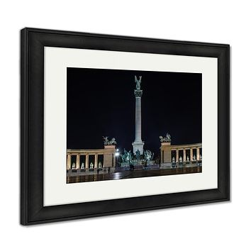 Framed Print, Night View At Heroes Square In Budapest