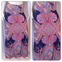 New Neon Color Paisley Print Vibrant Maxi Skirt Large