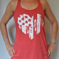 American Flag Heart Tank Top  -  Fourth of July  -   Women Clothing