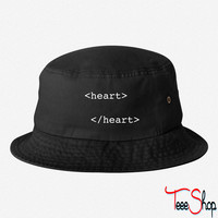 html heart bucket hat