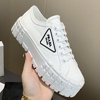 Prada New Canvas Embroidered Platform Shoes Women's Triangle Logo Casual Shoes sneakers White 1