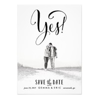 """Yes photo save the date card 5"""" x 7"""" invitation card"""