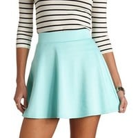 SOLID HIGH-WAISTED SKATER SKIRT