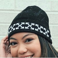 Off White New fashion cross arrow print couple knitted hat cap Black
