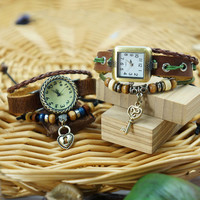 Handmade Leather Strap Key and Lock Bracelet Couple Watches