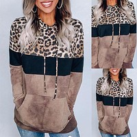 2020 new women's leopard print pullover hoodie long sleeve sweater