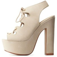 Taupe Peep Toe Lace-Up Platform Booties by Charlotte Russe